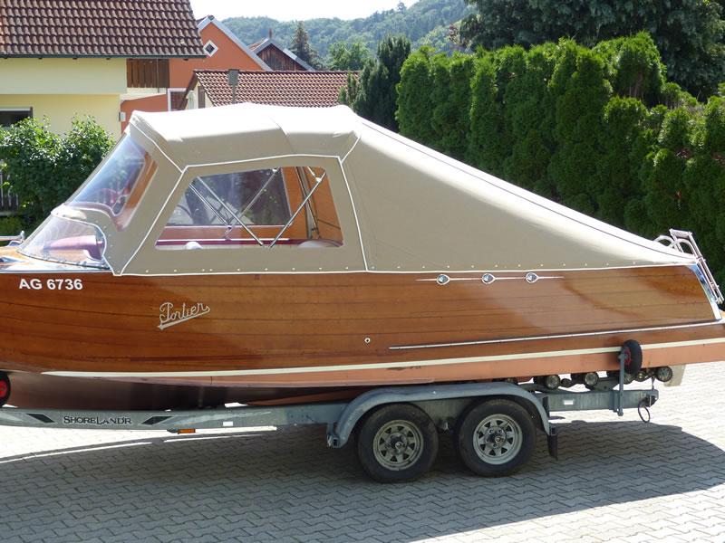 Verdeck Portier Holzboot Bootsverdeck 04